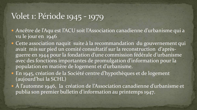 Présentation 40e de l'AQU (1945-1979)